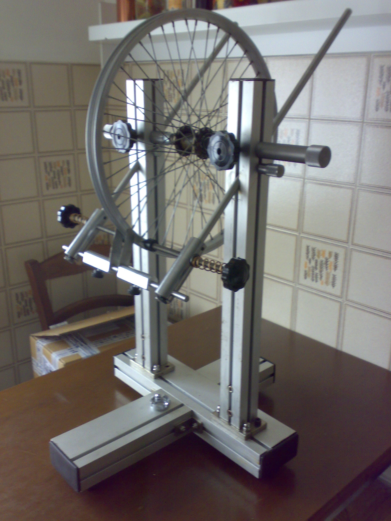 Build a homemade precision bicycle wheel truing stand s for Un stand
